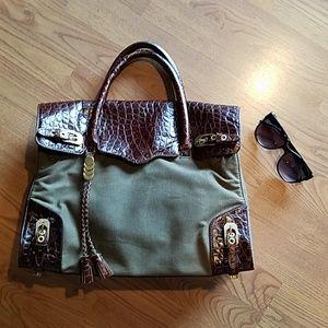 Rebecca Minkoff leather and canvas purse